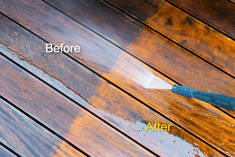 Before and After deck cleaning baltimore md-min